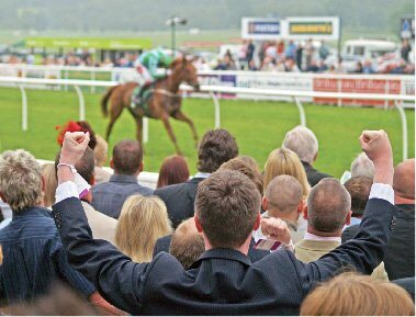 Excited crowd at the races