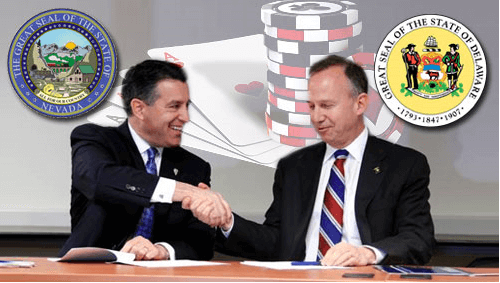 Here is a picture of Nevada Governor Brian Sandoval and Delaware Governor Jack Markell shaking hands on the Multi-State Internet Wager Agreement