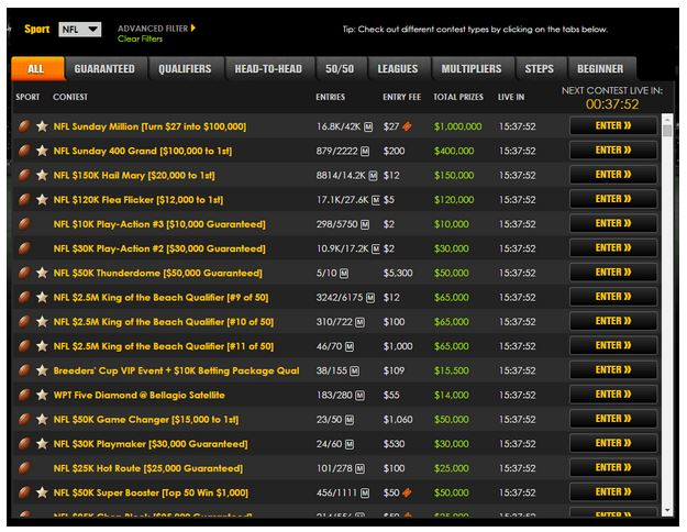 Here is a screenshot of the DraftKings lobby