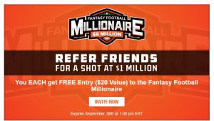 refer friends for a shot at 1$ million draftkings