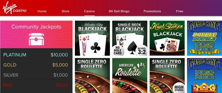 Virgin Casino Promo Code games