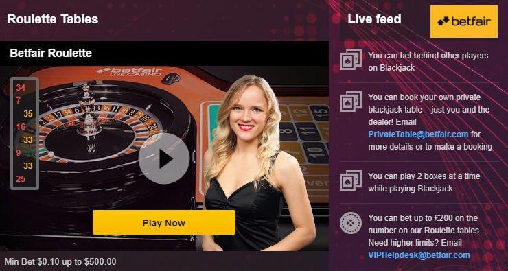 live games Betfair