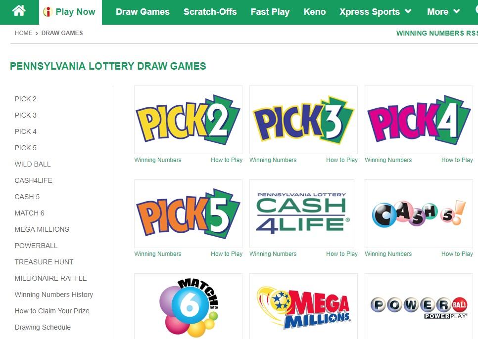 PA Lottery games ilottery