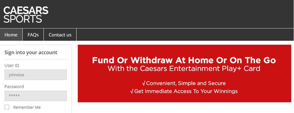 Caesars Sports App Entertainment Play+ Card