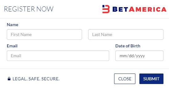 BetAmerica Registration form