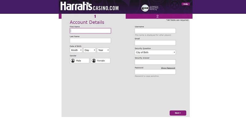 Harrah's Casino Registration Form