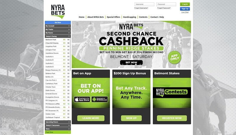 NYRA Bets Home Page