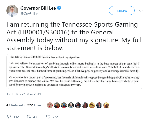 Tweet from Governor Bill Lee