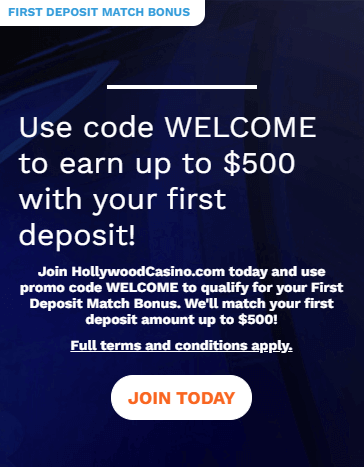 Hollywood Casino welcome bonus